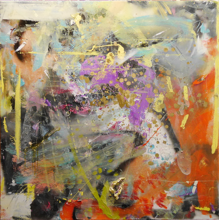 Colorful R Middleton abstract painting with yellows, purples, oranges and gold, currently on display at the Cultural Council of Greater Jacksonville
